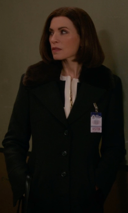 Julianna Margulies with DKNY Faux Fur Reefer Coat in The Good Wife