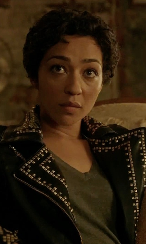 Ruth Negga with Topshop Naomi Studded Faux Leather Biker Jacket in Preacher