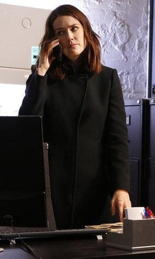 Megan Boone with Cinzia Rocca Hidden-Button Silk Coat in The Blacklist