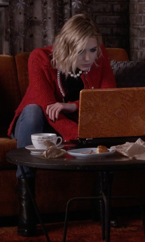 Ashley Benson with Dune London Slouchy Block Heel Leather Calf Boots in Pretty Little Liars