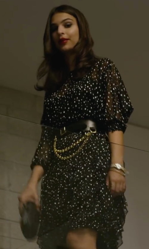 Emily Ratajkowski with Frock Shop Polka Dot Dress in We Are Your Friends