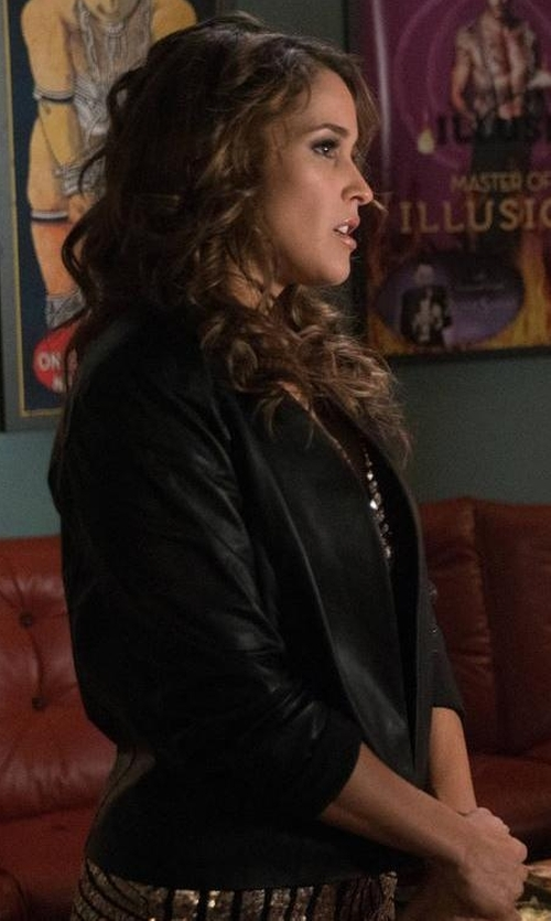 Jaina Lee Ortiz with RtA Iggy Leather Blazer in Rosewood