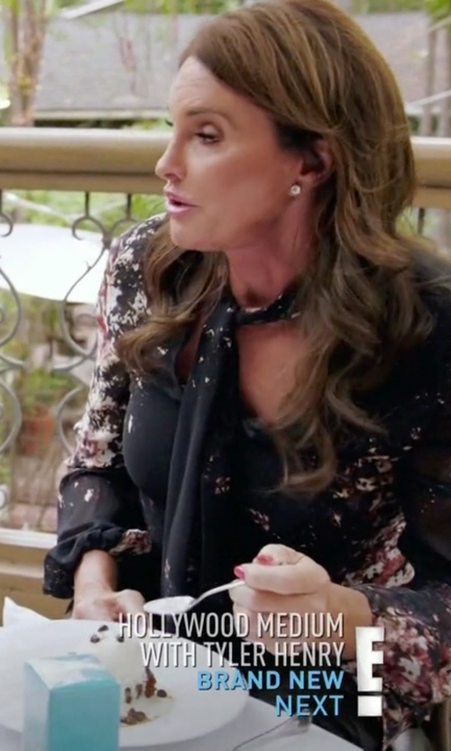 Caitlyn Jenner with Moschino Cheapandchic Bow Collar Floral Blouse in Keeping Up With The Kardashians