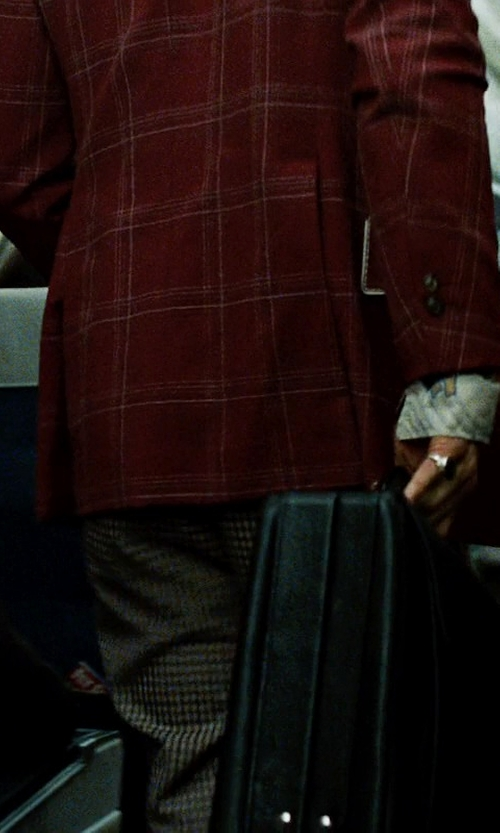 Brad Pitt with Brooks Brothers Gingham Watch Pocket Trousers in Fight Club