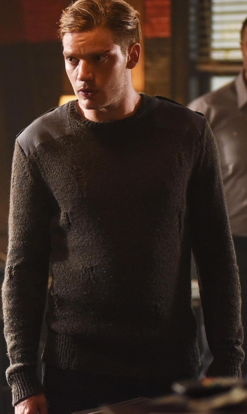 Dominic Sherwood with AllSaints Aktarr Crew Sweater in Shadowhunters