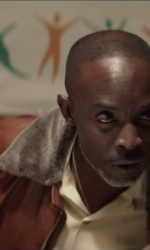 Michael Kenneth Williams with Vince Camuto Shearling Collar Aviator Jacket in The Gambler