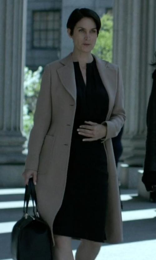 Carrie-Anne Moss with Ellen Tracy Split Neck Crepe Sheath Dress in Jessica Jones