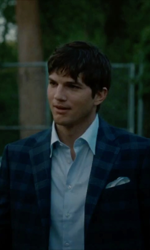 Ashton Kutcher with Forzieri Framed Solid White Silk Pocket Square in No Strings Attached