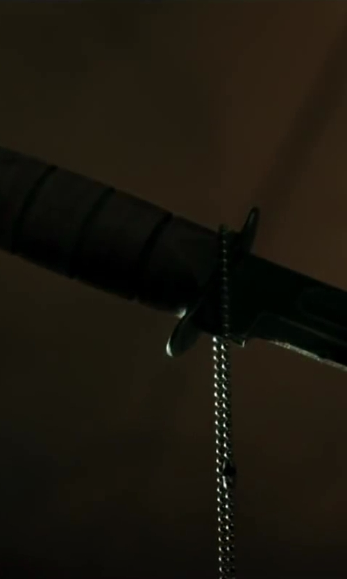 "Ben Kingsley with Ontario Knives Ontario 493 M9 Bayonet & Scabbard 7"" Blade, Black Handle in Iron Man 3"