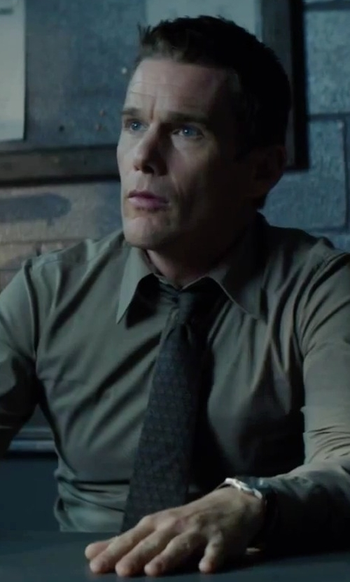 Ethan Hawke with Calvin Klein Silk Medallion Print Tie in Regression
