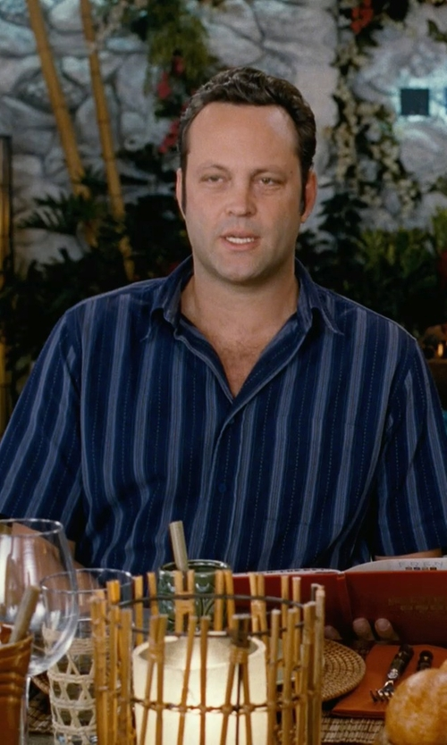 Vince Vaughn with Van Heusen Men's Short Sleeve Stripe Faux Linen Button Up Shirt in Couple's Retreat