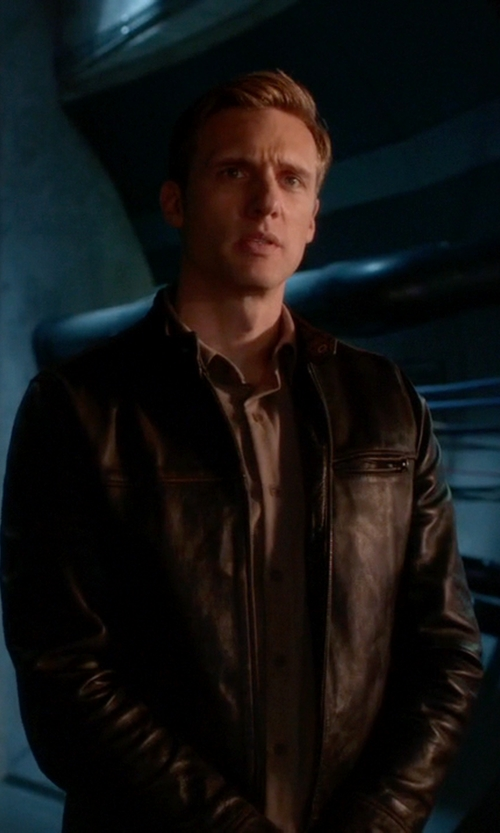 Teddy Sears with Vince Camuto Smooth Lamb Moto Jacket in The Flash