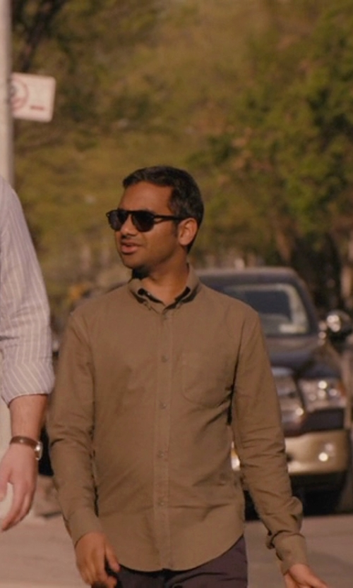 Aziz Ansari with Pendleton Long Sleeve Sir Pen Button Down Shirt in Master of None