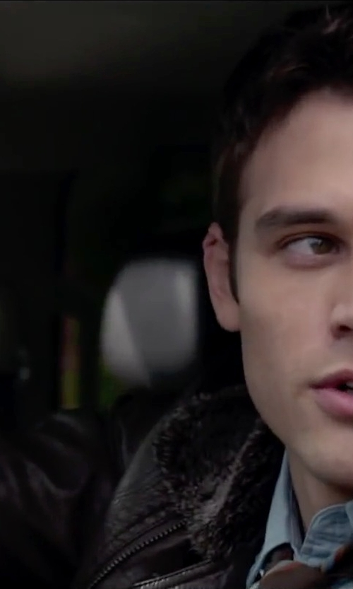 Ryan Guzman with BLK DNM Leather & Shearling Pilot Jacket in The Boy Next Door