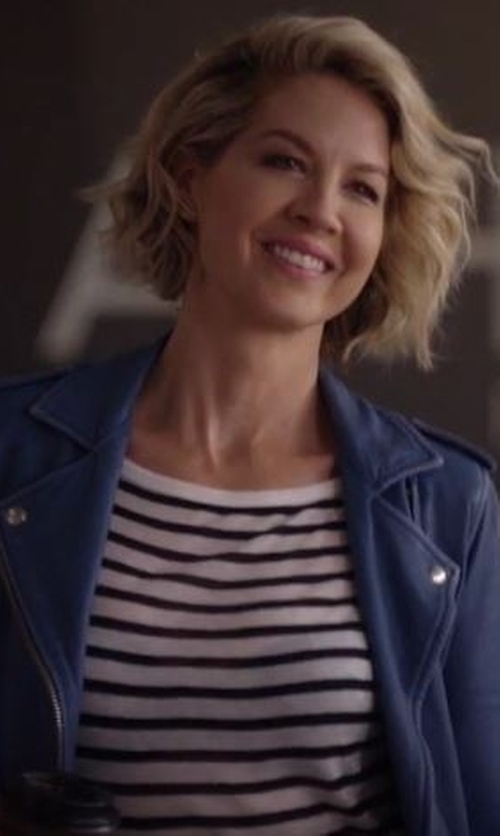 Jenna Elfman with IRO Ashville Biker Jacket in Imaginary Mary