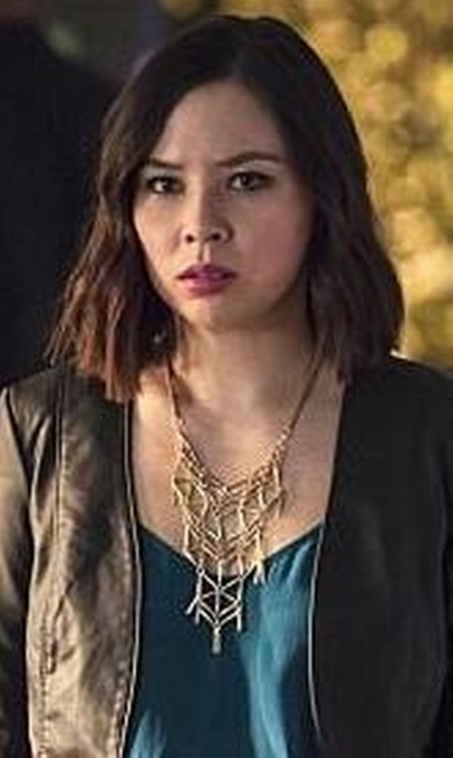 Malese Jow with KJL By Kenneth Jay Lane Branch Bib Necklace in The Flash