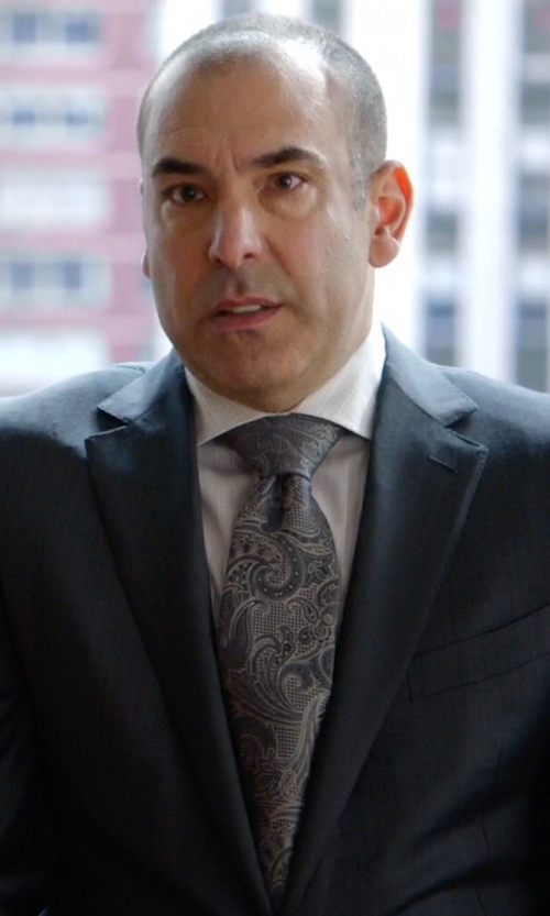 Rick Hoffman with Isaia Faded Paisley Linen & Silk Tie in Suits