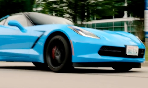 Samuel Barnett with Chevrolet Corvette Stingray Coupe in Dirk Gently's Holistic Detective Agency