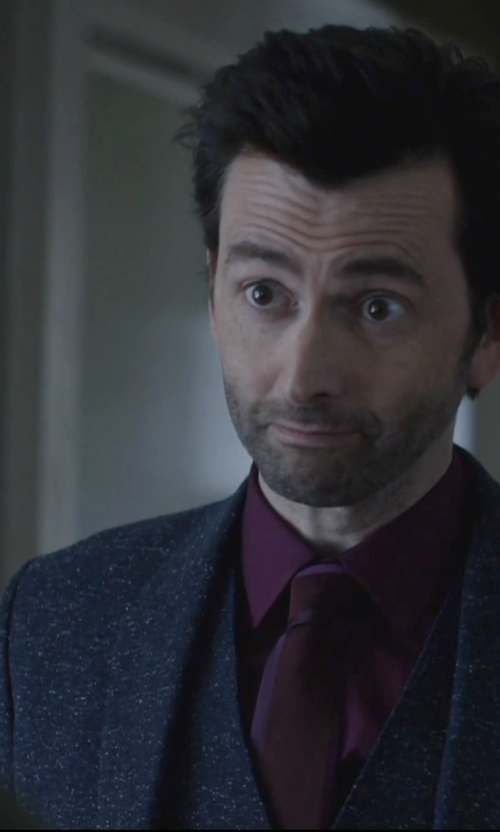David Tennant with Armani Collezioni Pindot Three-Piece Wool Suit in Jessica Jones