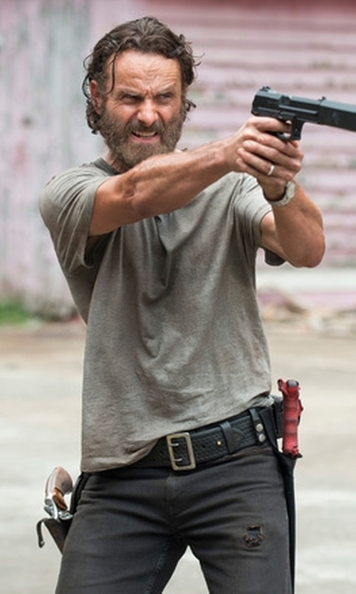 Andrew Lincoln with Calvin Klein Crew Neck T-Shirt in The Walking Dead