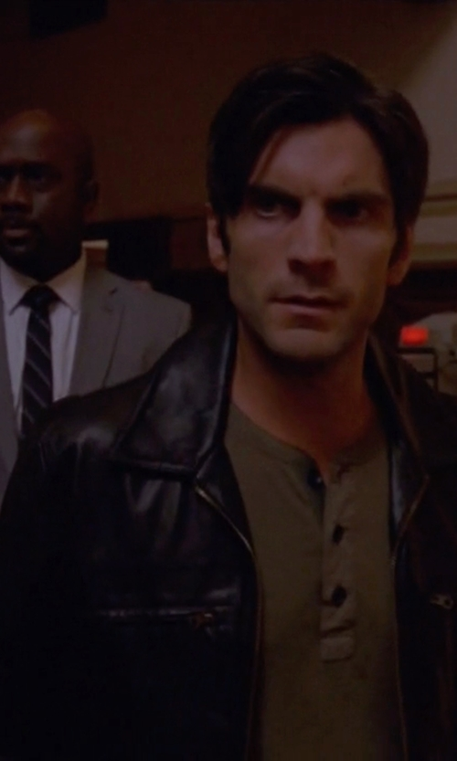 Wes Bentley with Emanuel by Emanuel Ungaro Leather Jacket in American Horror Story