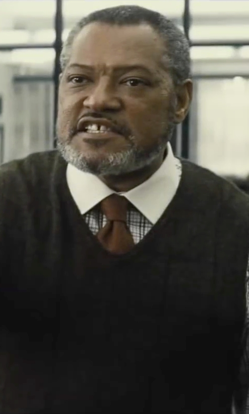 Laurence Fishburne with Brooks Brothers Solid Repp Tie in Batman v Superman: Dawn of Justice