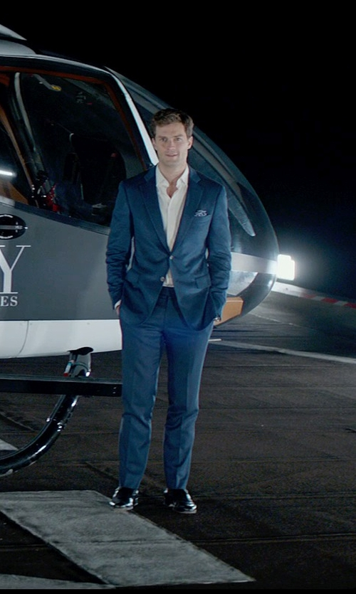Jamie Dornan with Mark Bridges (Costume Designer) Custom Made Navy Wool Suit in Fifty Shades of Grey