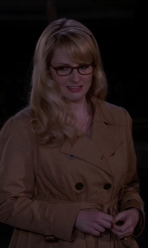 Melissa Rauch with Calvin Klein Double Breasted Belted Wool Trench Coat in The Big Bang Theory