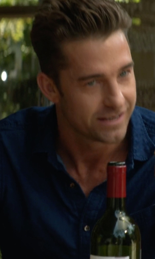 Scott Speedman with Tallia Men's Denim Shirt in Animal Kingdom