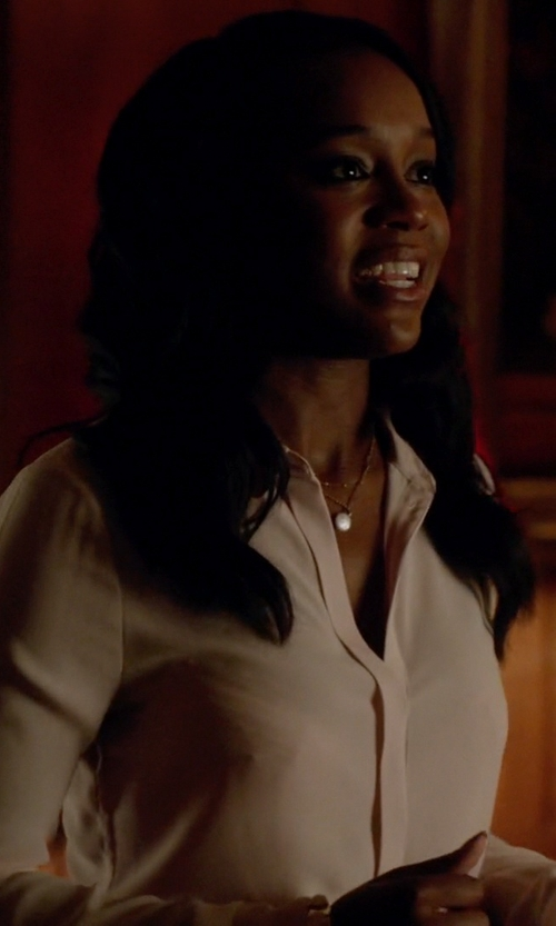 Aja Naomi King with Kenzo Silk Blouse in How To Get Away With Murder