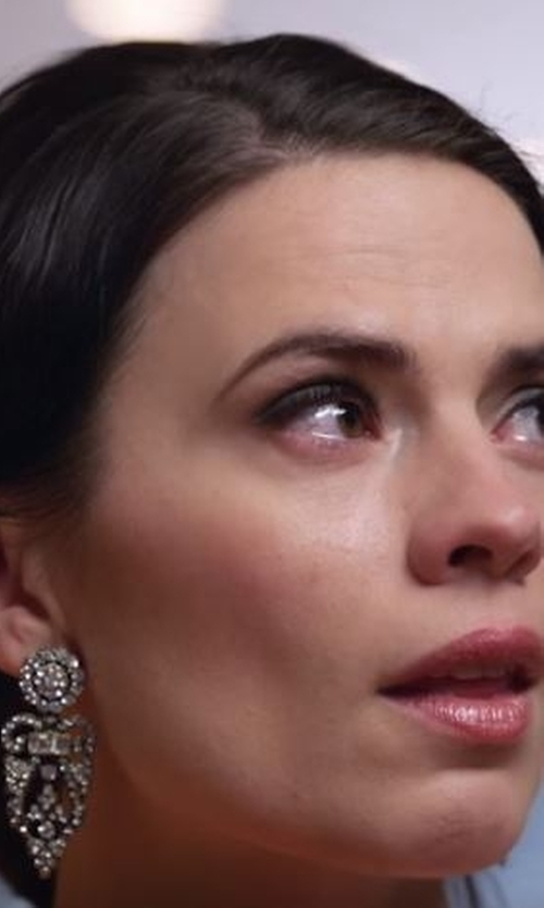 Hayley Atwell with Dylanlex Scarlett Crystal Statement Earrings in Conviction