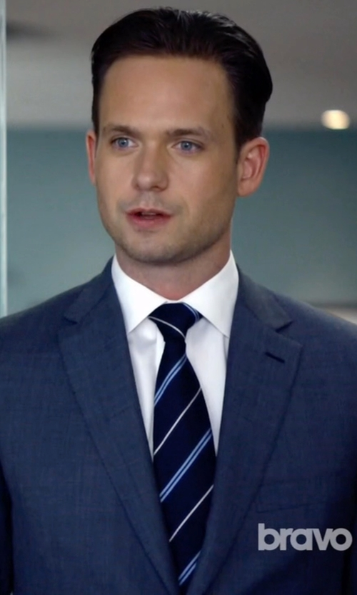 Patrick J. Adams with Yves Saint Laurent Sable Stripe Skinny Tie in Suits