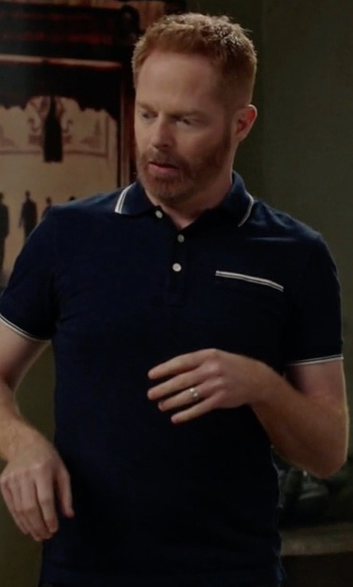 Jesse Tyler Ferguson with J.Crew Textured Cotton Tipped Polo Shirt in Modern Family