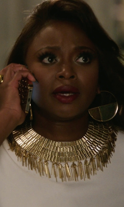 Naturi Naughton with Sequin Golden Mesh Statement Necklace in Power