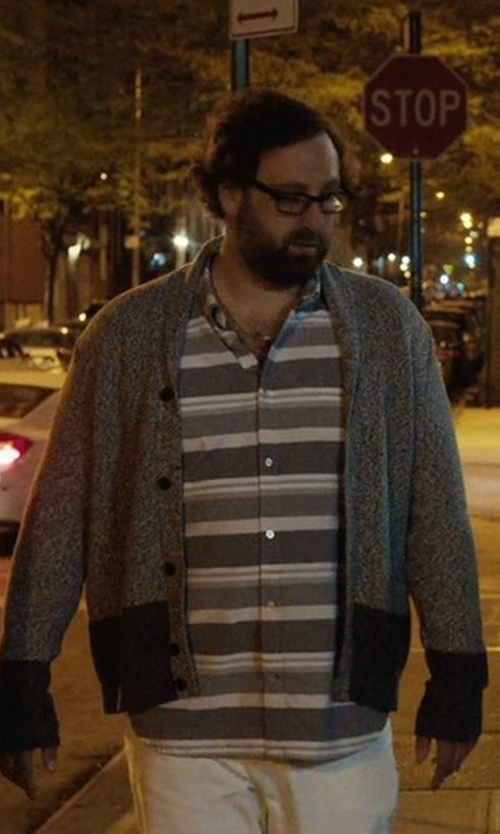 Eric Wareheim with ATM Anthony Thomas Melillo Colorblock Button-Down Cashmere Cardigan in Master of None