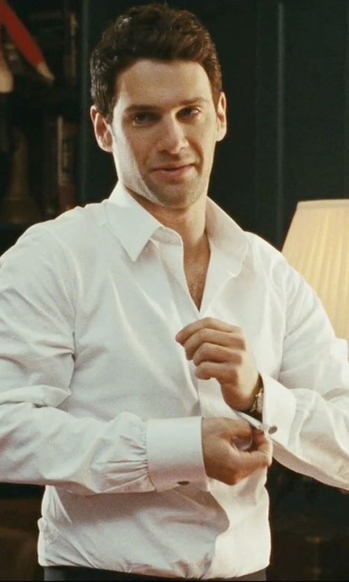 Justin Bartha with David Donahue Trim Fit French Cuff Tuxedo Shirt in The Hangover