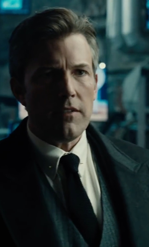 Ben Affleck with Boss Hugo Boss Huge Genius Slim Birdseye Three-Piece Suit in Justice League