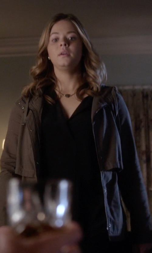 Sasha Pieterse with Mango Outlet Military-Style Soft Parka in Pretty Little Liars
