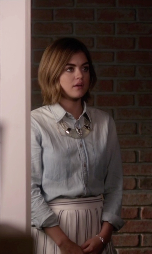 Lucy Hale with Levi's Chambray Shirt in Pretty Little Liars