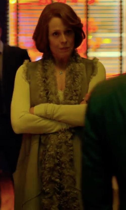 Sigourney Weaver with Heartloom Michi Rabbit Fur Vest in Marvel's The Defenders