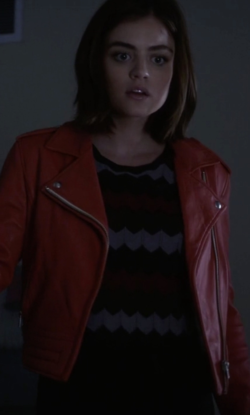 Lucy Hale with IRO Zefir Leather Jacket in Pretty Little Liars