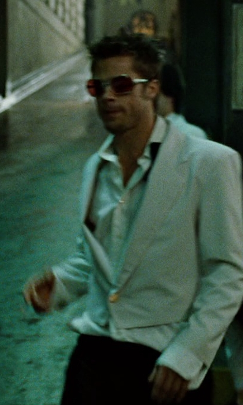 Brad Pitt with Boss Hugo Boss 'Jeffrey Us' Flat Front Wool Trousers in Fight Club