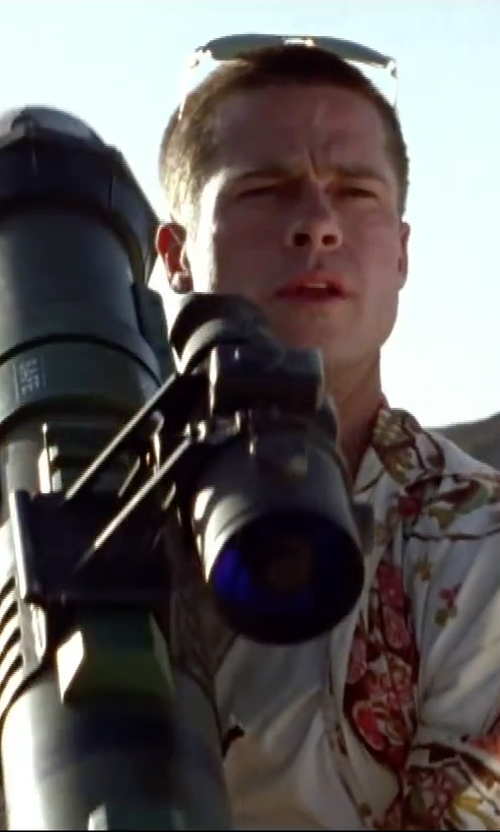 Brad Pitt with Lazy Oaf Merit Badge Button Down Shirt in Mr. & Mrs. Smith