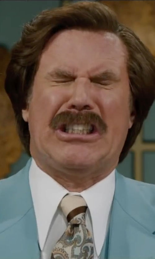 Will Ferrell with Isaac Mizrahi Slim-Fit Twill Solid Dress Shirt in Anchorman 2: The Legend Continues