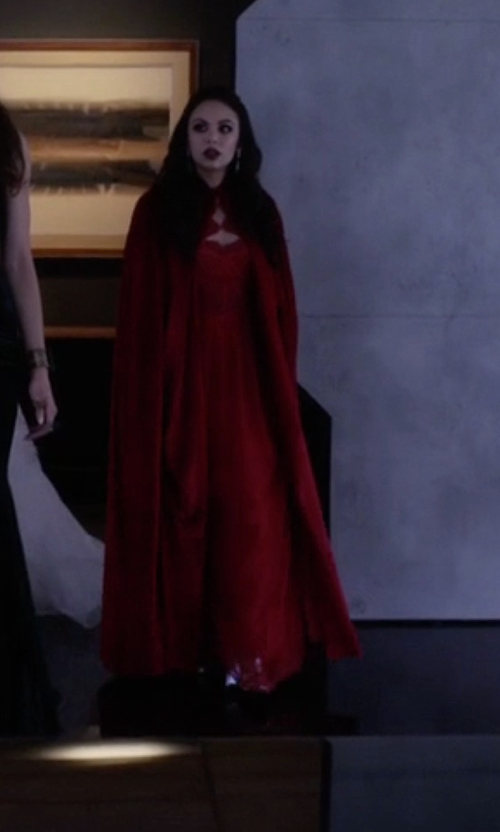 Janel Parrish with Victorian Vagabond Medieval Renaissance Steampunk Velvet Cape Cloak in Pretty Little Liars