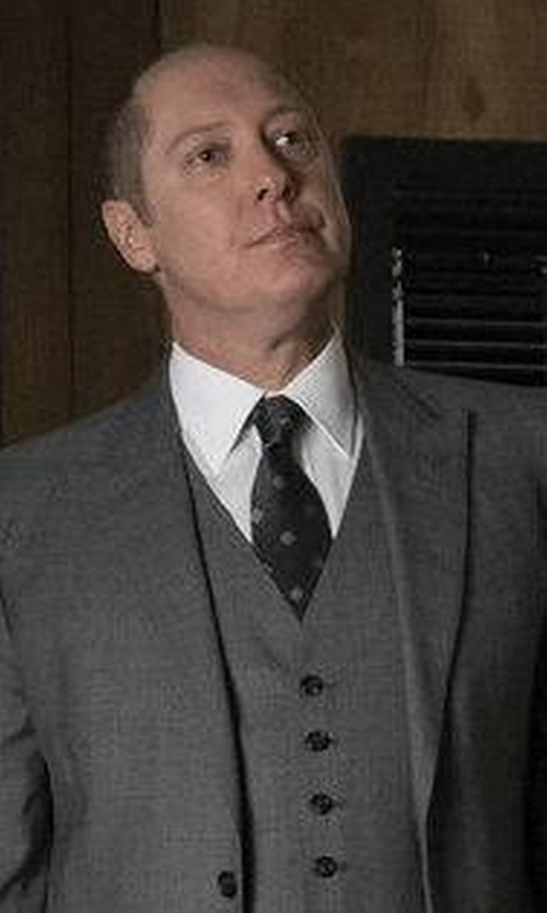 James Spader with Tom Ford Large Dot-Print Silk Tie in The Blacklist