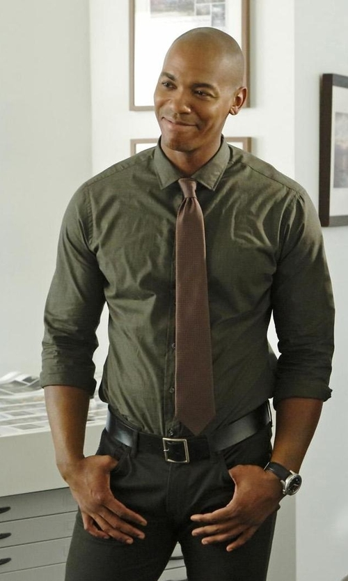 Mehcad Brooks with Burberry Slim Fit Stretch Cotton Blend Shirt in Supergirl