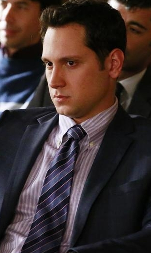 Matt McGorry with Saks Fifth Avenue Collection Trim-Fit Striped Dress Shirt in How To Get Away With Murder