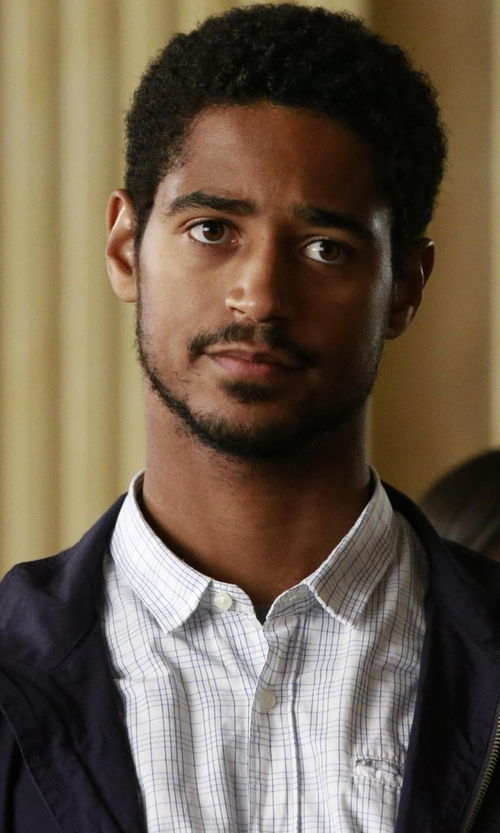 Alfred Enoch with Billy Reid Woven Check Oxford Shirt in How To Get Away With Murder
