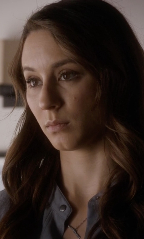 Troian Bellisario with Campise Rhodium Gun Necklace in Pretty Little Liars